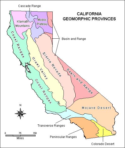 California Geomorphic Provinces Courtesy California Geological Survey